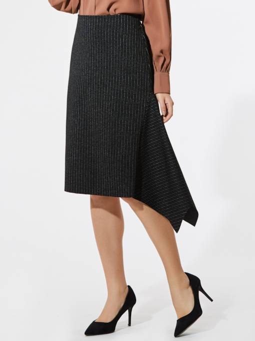 Asymmetric Falbala Stripe Women's Skirt