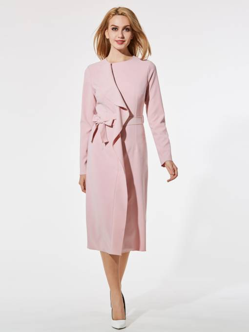 Pink Lace up Split Women's Long Sleeve Dress