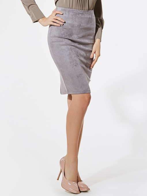 Plain High-Waist Keen-Length Women's Package Hip Skirt