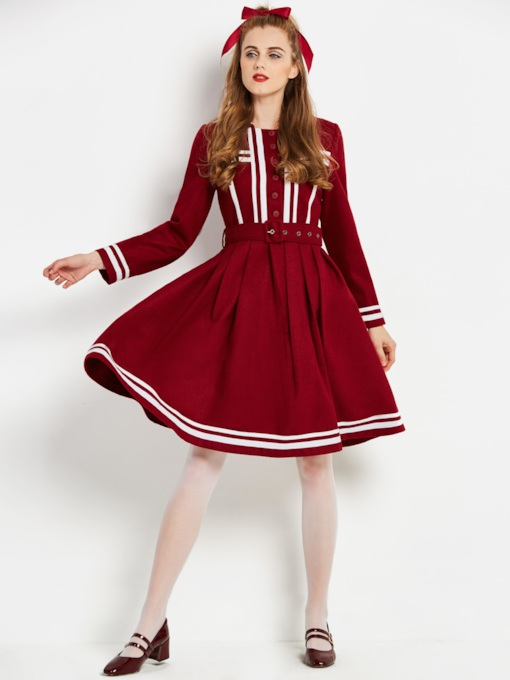 Burgundy Long Sleeve Women's Skater Dress