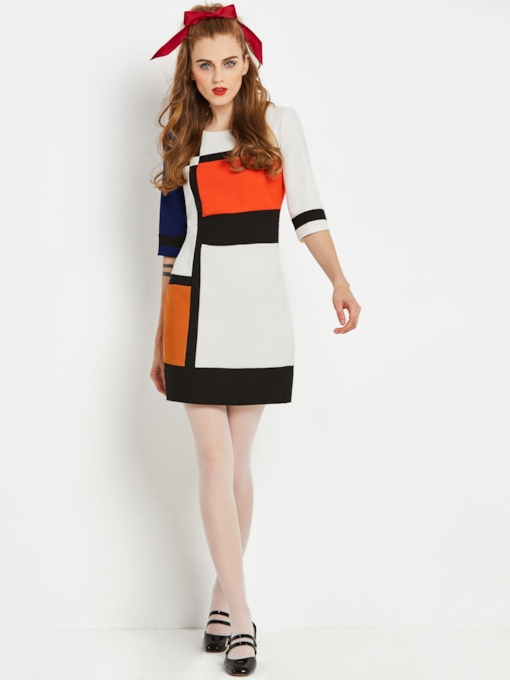 Color Block Half Sleeve Round Neck Women's Sheath Dress