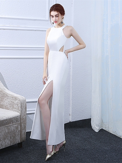 Sheath Hollow Jewel Ankle-Length Evening Dress