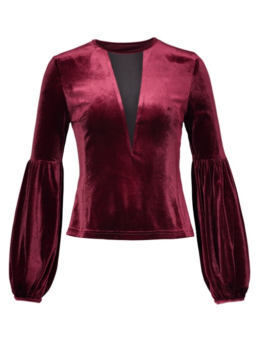 Velvet Puff Sleeve V-Neck Women's Blouse