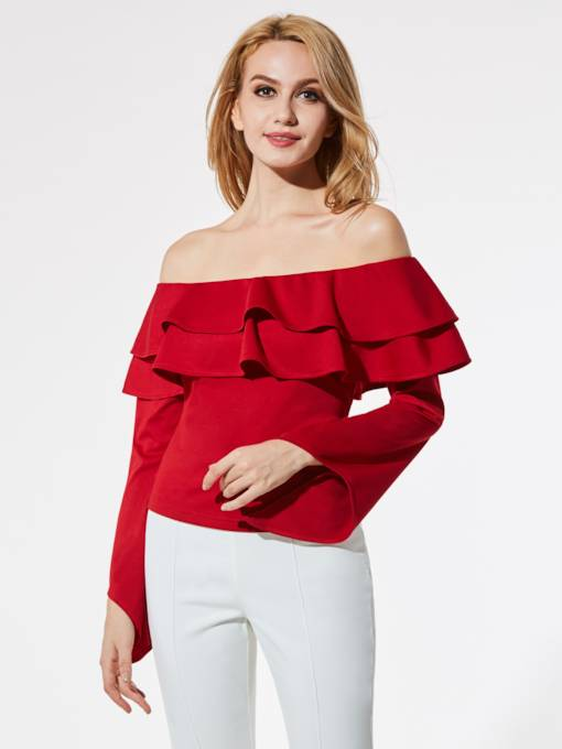 Off Shoulder Falbala Backless Lace-up Women's Blouse