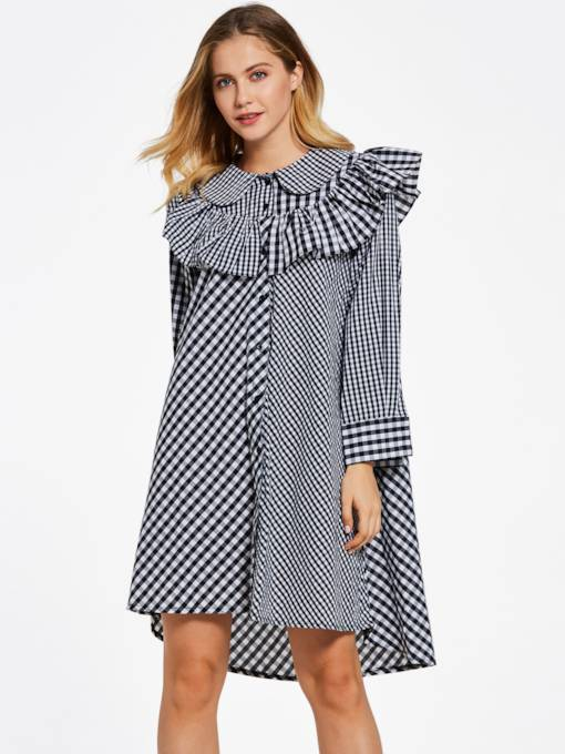 Color Block Plaid Falbala Patchwork Women's A-Line Dress