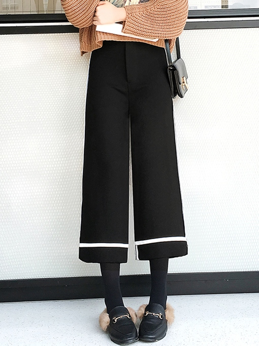 Wide Legs Stripe Print Ankle Length Women's Pants