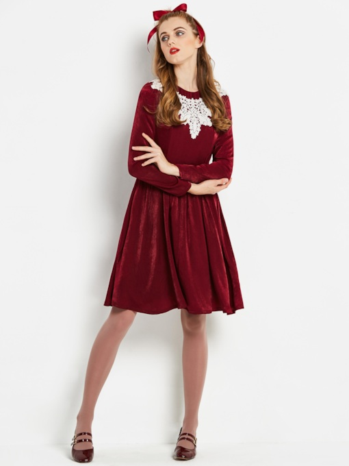 Burgundy Appliques Women's Long Sleeve Dress