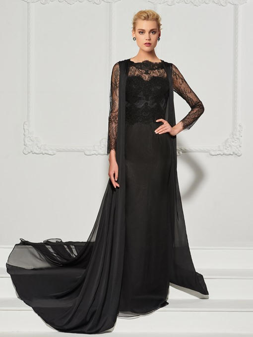 A-Line Lace Scalloped-Edge Evening Dress