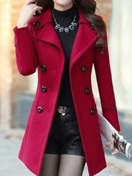 Notched Lapel Slim With Belt Double-Breasted Women's Overcoat
