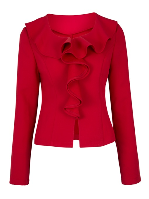 Ruffled Collar Falbala Patchwork Long Sleeve Women's Jacket