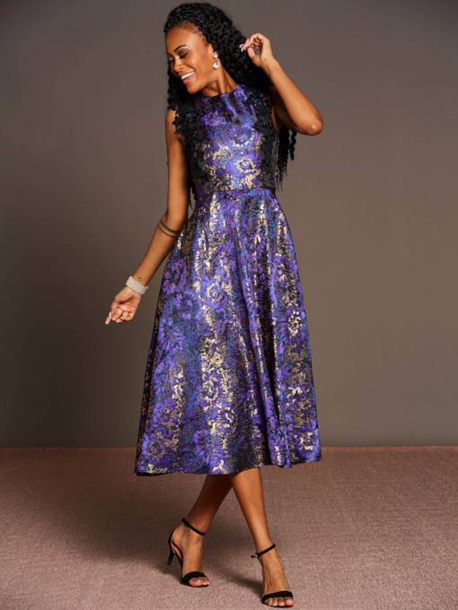 Purple Sleeveless Sequins Women's Day Dress