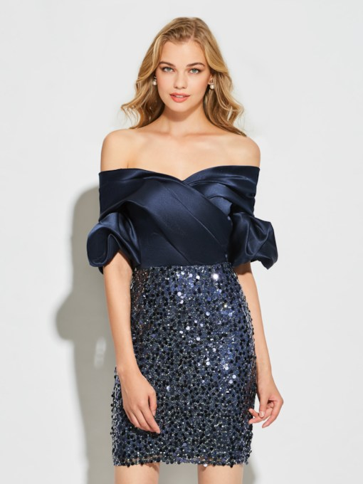 Sheath Sequins Off-the-Shoulder Short Sleeves Mini Cocktail Dress