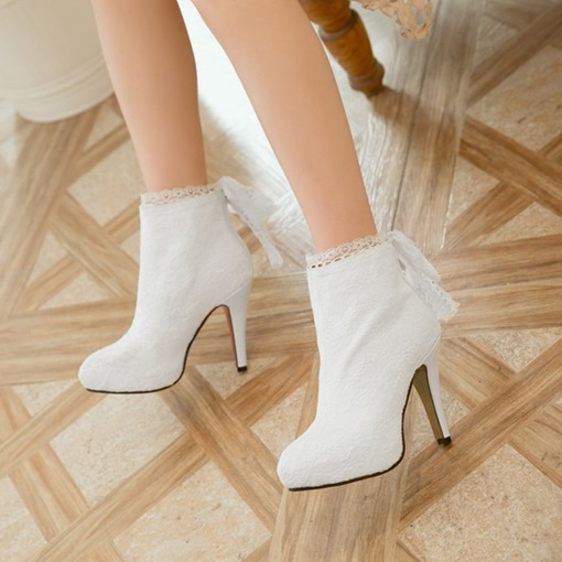 Plus Size Dress Shoes Zipper Lace Women's High Heel Boots