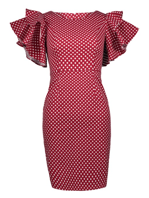 Burgundy Falbala Polka Dots Women's Bodycon Dress