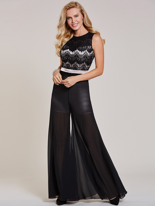 A-Line Lace Scoop Long Evening Jumpsuits