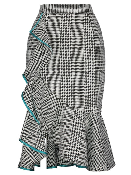 Asymmetrical High-Waist Falbala Plaid Print Women's Skirt