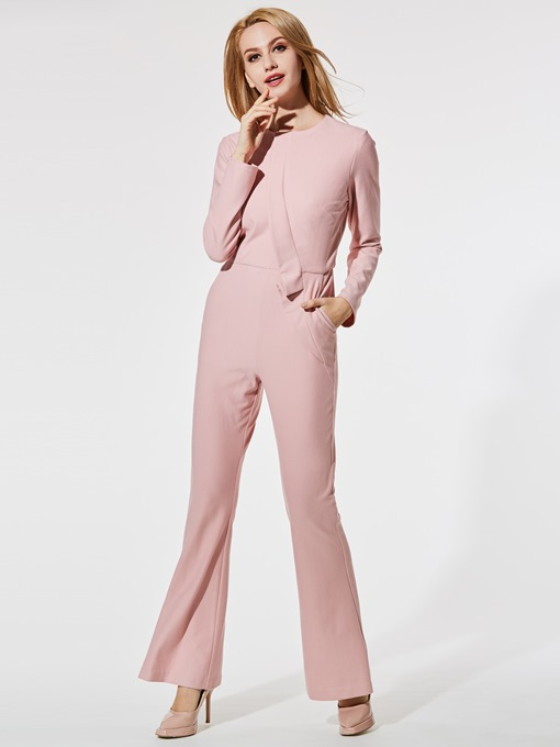 Slim Asymmetric Falbala Bellbottoms Women's Jumpsuits