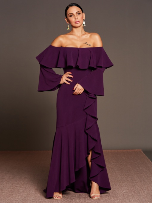 Purple off-Shoulder Asym Women's Maxi Dress
