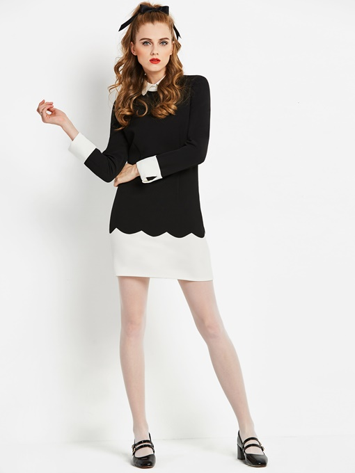 Black Peter Pan Collar Women's Sheath Dress