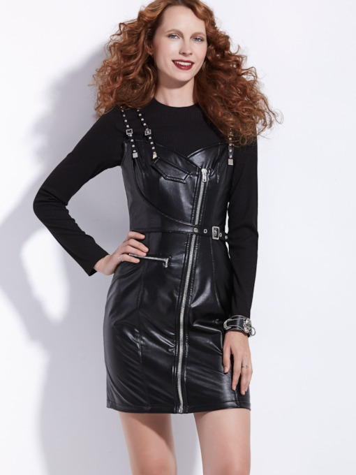 Long Sleeve T-Shirt And Overall Women's Two Piece Dress