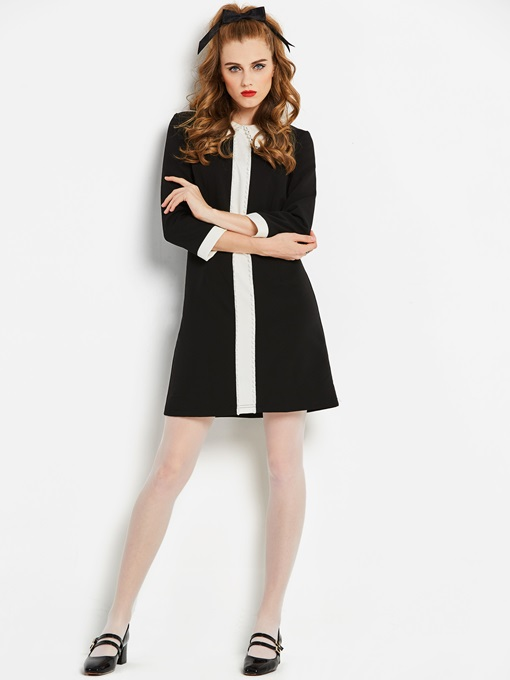 3/4 Sleeve Peter Pan Collar Women's Day Dress