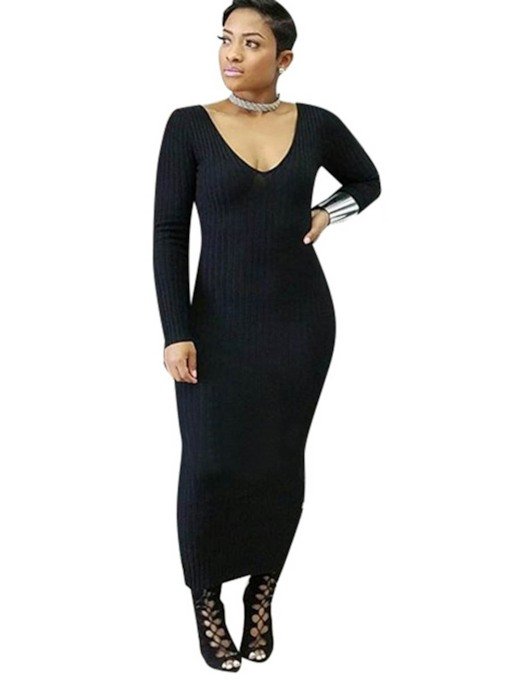 Plain V Neck Women's Long Sweater Dress