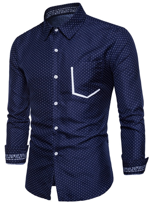 Lapel Classic Polka Dots Color Block Pocket Slim Fit Men's Shirt