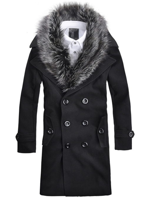 Faux Fur Collar Double-Breasted Warm Slim Men's Woolen Coat
