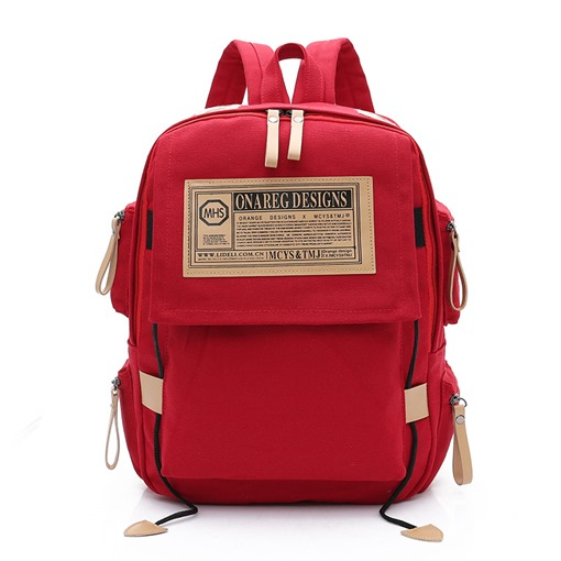 Casual Solid Color Canvas Women Backpack