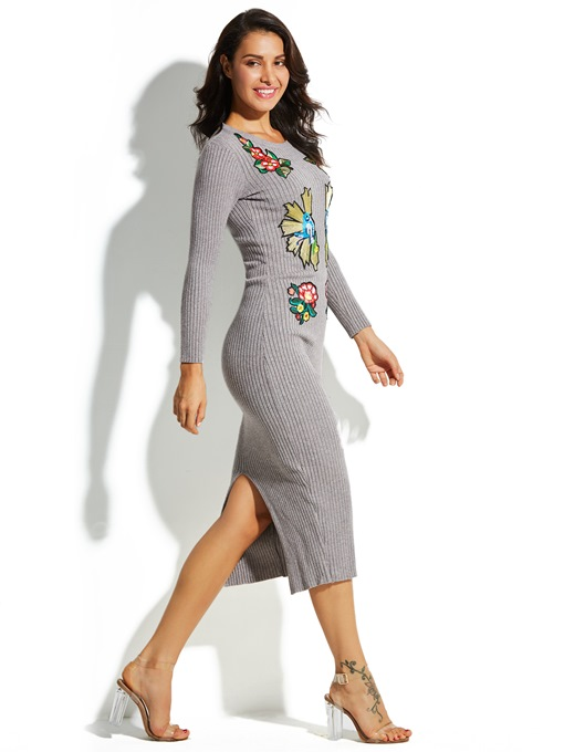 Mid-Calf Floral Embroideried Pullover Vacation Women's Sweater Dress