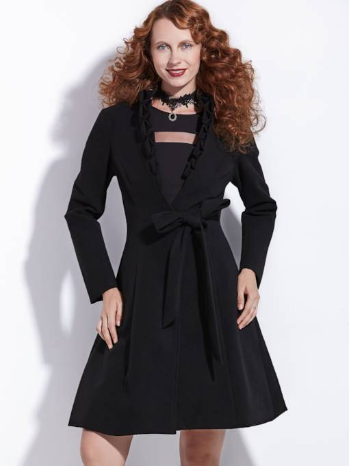 Frill Collar Lace-Up Plain Women's Overcoat
