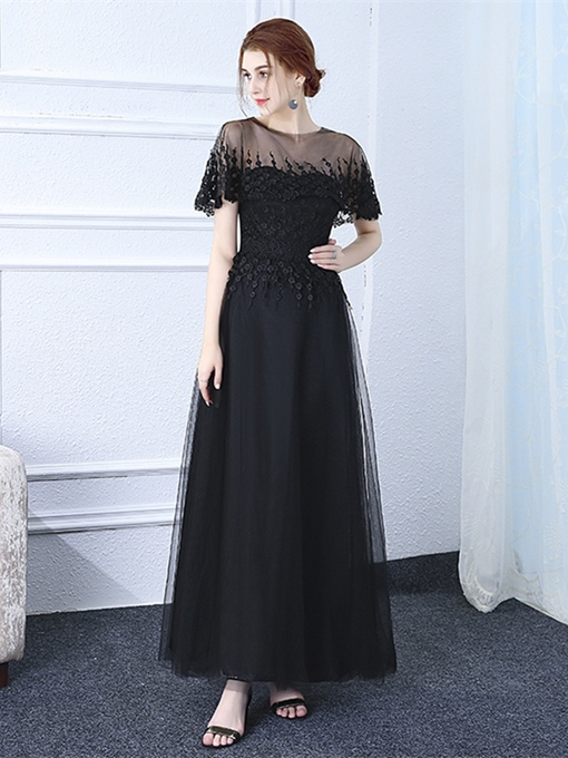 A-Line Scoop Appliques Floor-Length Evening Dress