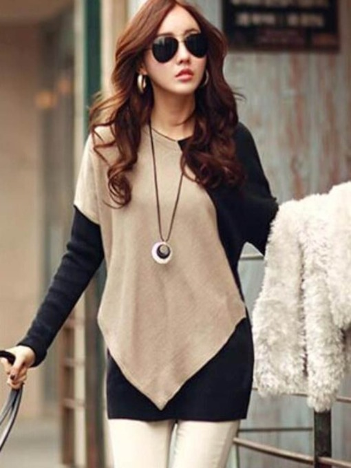 Color Block Loose Patchwork Long Sleeve Women's T-Shirt