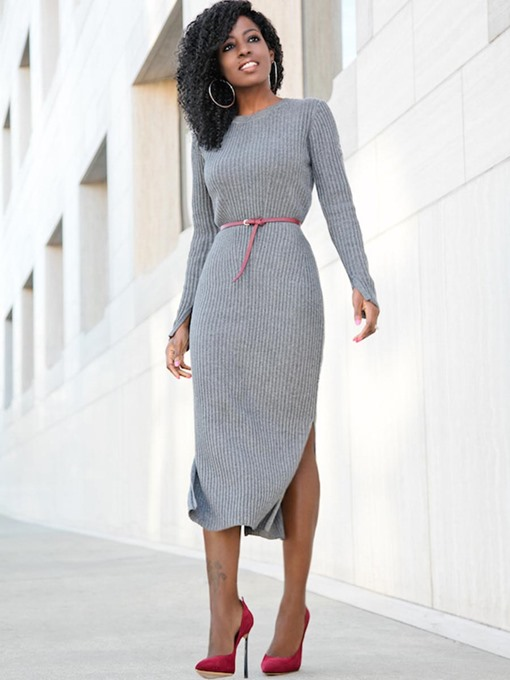 Gray Splits Women's Sweater Dress