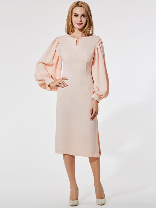 Pink Lantern Sleeve Women's Sheath Dress