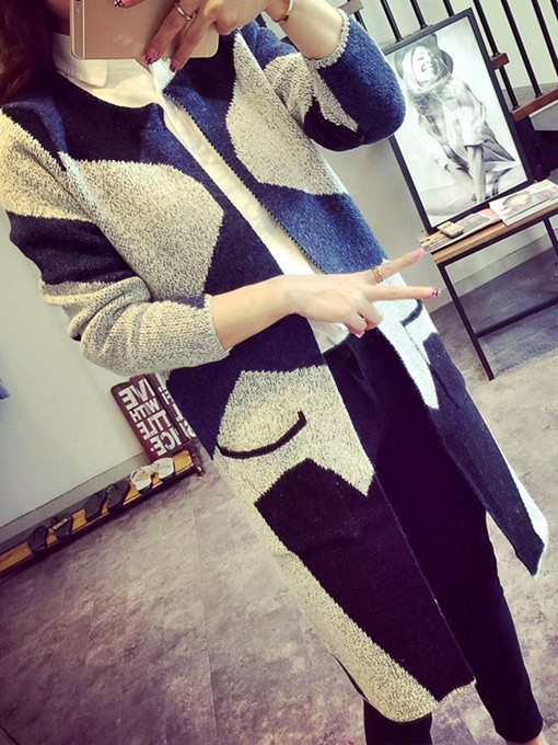 Geometric Loose Long Sweater Women's Cardigan