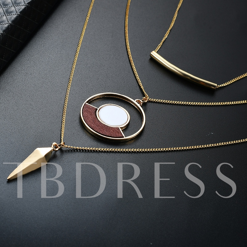 Hollow Out Arc Type Alloy European Multilayer Necklace