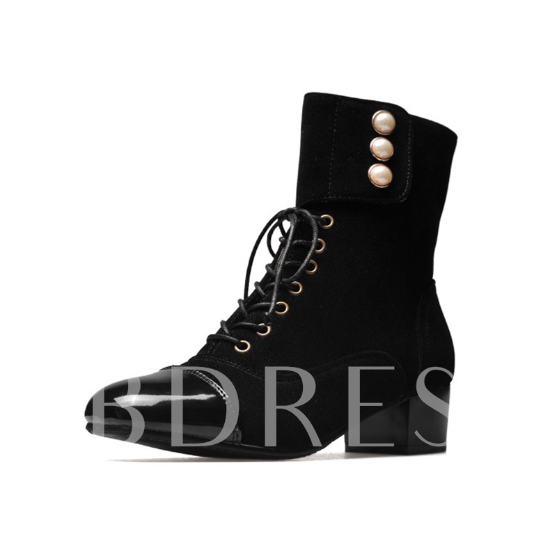 Velcro Cuff Lace Up Pearl Women's Ankle Boots
