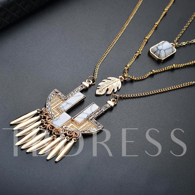 Turquoise Tassel Leaves Pendant Simple Multilayer Necklace