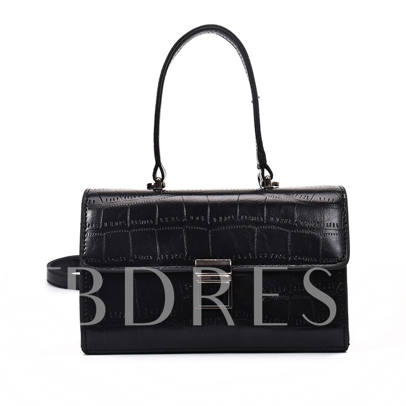 Croco-Embossed Latch Decoration Women Tote
