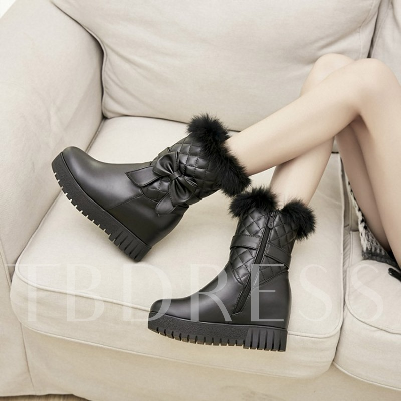 Side Bow Short Floss Height Incressing Shoes Women's Half Boots