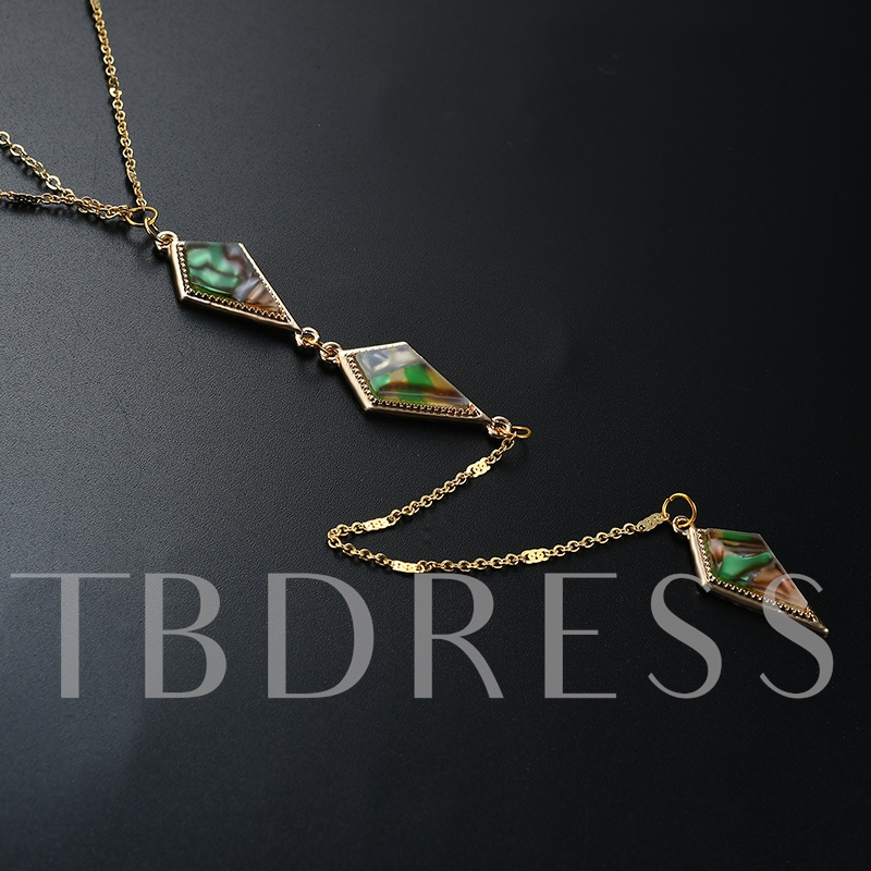 Simple Alloy Turquoise Inlaid Multilayer Necklace