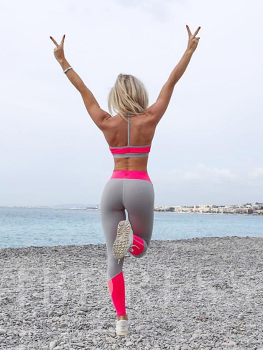 Quick Dry Color Block Full Length Women's Yoga Pants