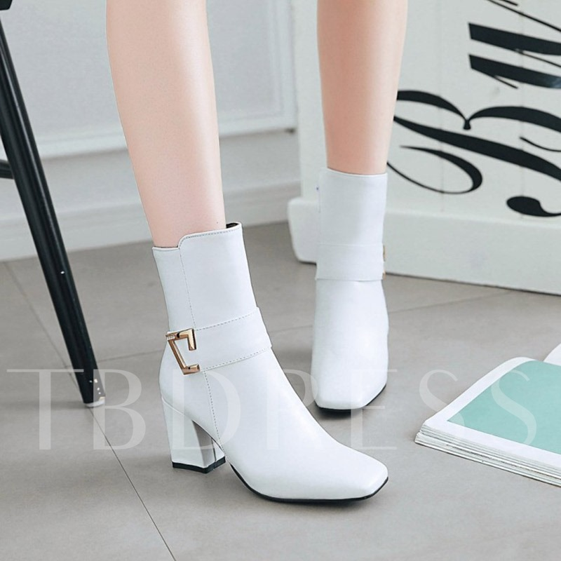 Square Toe Sequin Chunky Heel Women's Ankle Boots