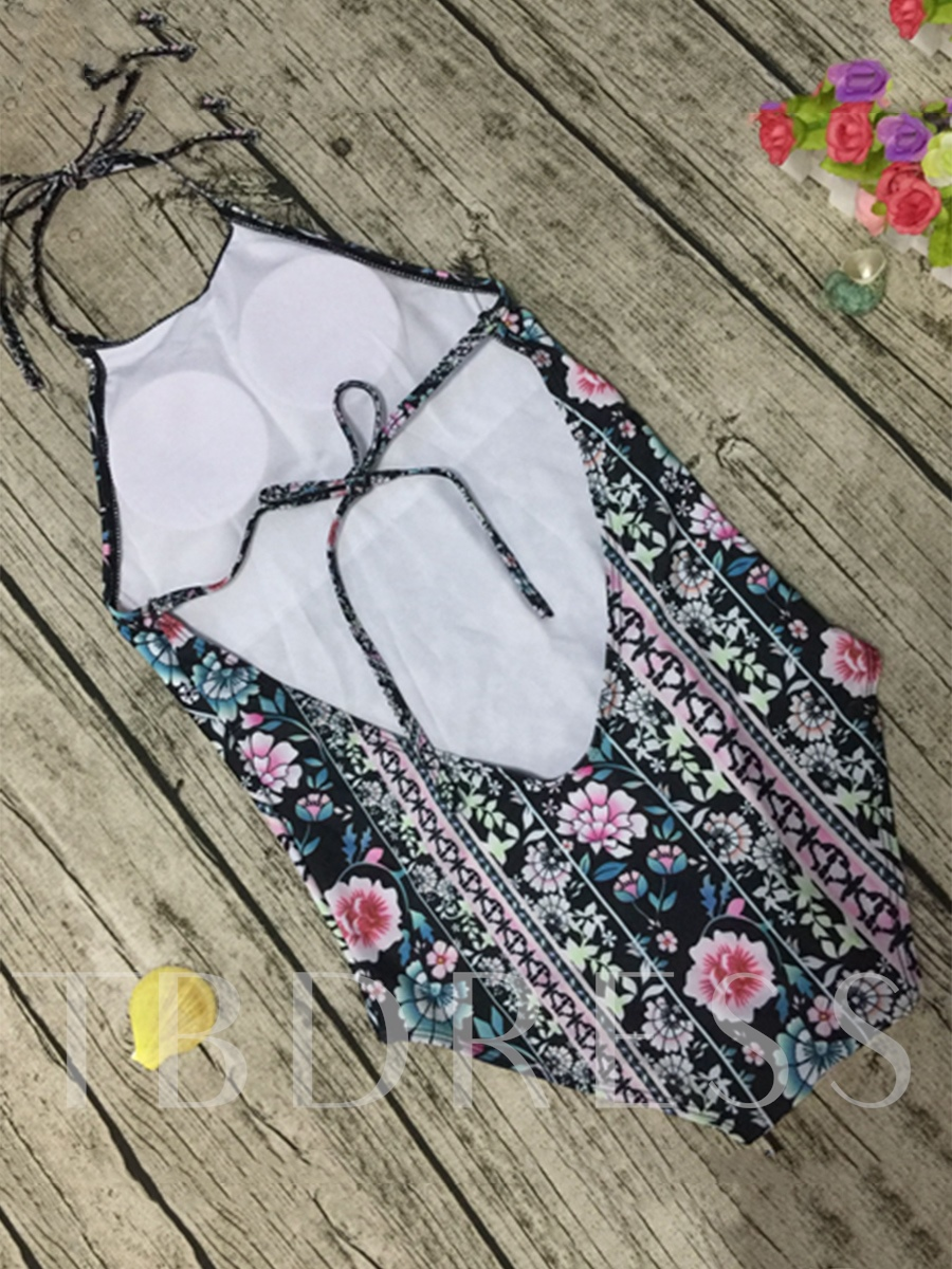 Flower Geometric Print Halter Backless One Piece Swimsuit