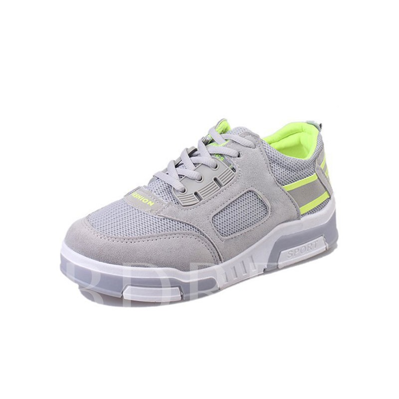 Gray Lace Up Mesh Women's Platform Sneakers