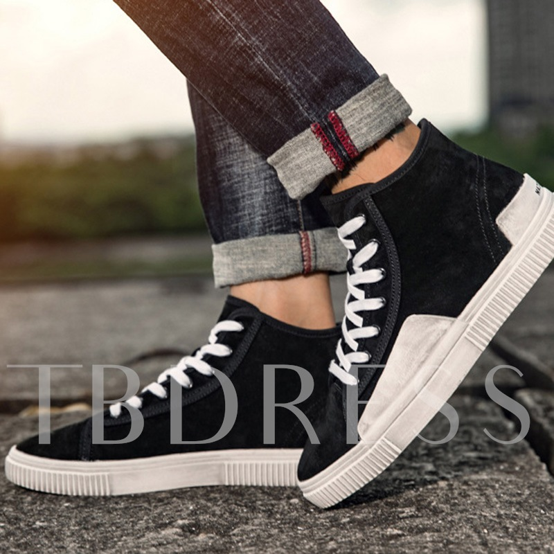 Nubuck Leather Lace Up Color Block Men's Skaters shoes