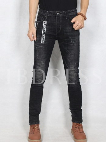 Mid Waist Black Elastic Slim Fit Men's Casual Jeans