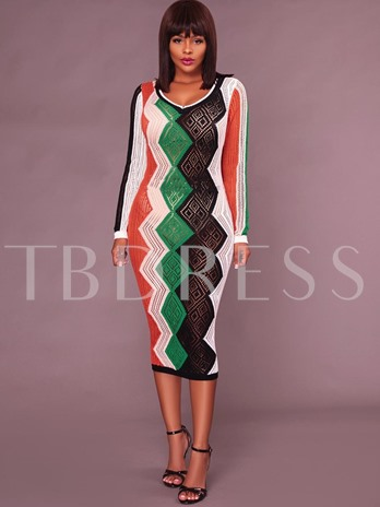 Color Block See-Through Women's Sweater Dress