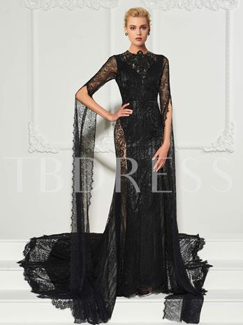 Scoop Long Sleeeves Mermaid Button Lace Court Train Evening Dress
